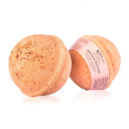 Гейзер (бурлящий шарик) для ванн CHOCOLATTE «Цветочная фантазия» увлажняющий, с лепестками роз, экст